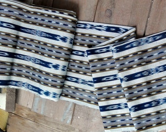 Guatemalan Ikat Fabric in Blue, Golden Brown, and White