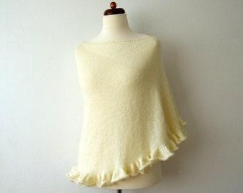 ecru ivory bridal wrap, wedding shawl, with shimmer and ruffle