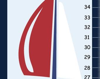 Sailboats Canvas Growth Chart Nautical Boys Bedroom and Baby Nursery Wall Art