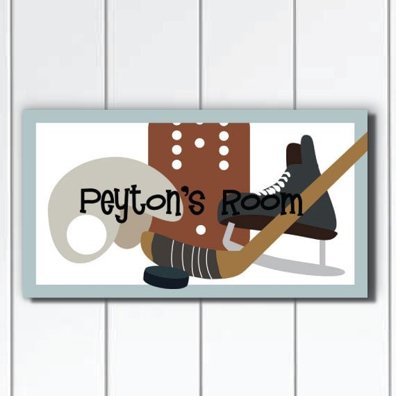 Personalized Hockey DOOR SIGN Kids Wall Art Hockey Theme