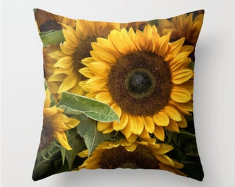 Pillow Cover, Summer Sunflowers, Yellow, Gold, Green, Brown, Decorative Throw Pillow Cover