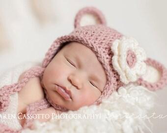 Newborn Girl Hat, Newborn Monkey Hat, Girl Hat, Baby Girl Monkey Hat, Country Pink Hat, Cream Ears. Newborn Photo Props. Baby Shower Gift.