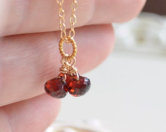 Garnet Necklace, Gold Filled or Sterling Silver, Gemstone Onion, Semiprecious Stone, Wire Wrapped, January Birthstone Jewelry, Free Shipping