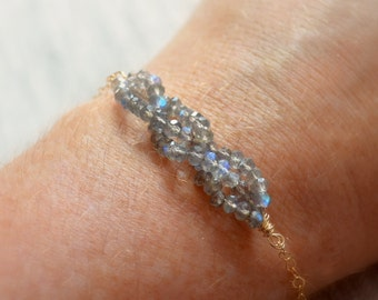Braided Labradorite Bracelet, Gemstone Jewelry, Grey Stone Braid, Gold Filled Chain, Semiprecious, Wire Wrapped, Free Shipping