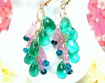Emerald green quartz pink mystic topaz gold chandelier earrings, pink and green gold chandelier earrings, green Victorian chandelier