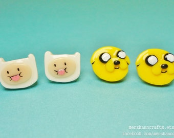 Adventure Time Finn & Jake earrings (1pair)