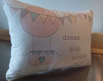 Baby girl pillow pink hot air balloon baby shower gift  cottage baby cushion nursery throw pillow new baby gift cotton transportation decor