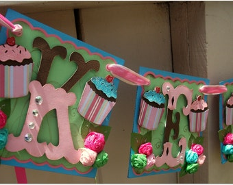 Handmade Banner - Custom made - GO GREEN - Name Banner Happy Birthday Baby Shower Bridal Shower Cup Cakes