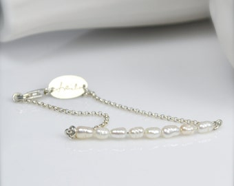 White and Ivory Rice Pearl Silver Chain Bracelet