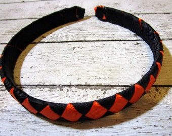 Ribbon Wrapped Headband, Headband, Black Headband, Orange Headband, Black Ribbon Wrapped Headband, Orange Ribbon Headband, Fall Headband