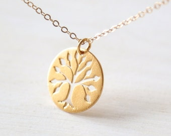 Gold Family Tree Disc Necklace - Simple everyday symbolic jewelry