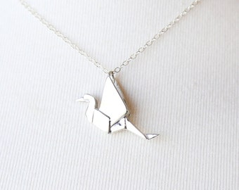 Large Origami Crane - Sterling Silver Necklace - simple Japan Necklace everyday jewelry