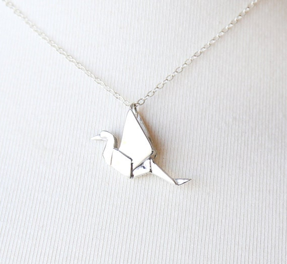 Large Origami Crane - Sterling Silver Necklace - simple everyday jewelry