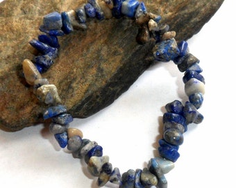Blue Lapis Chip Bracelet Stretch Adjustable earthegy