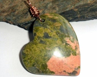 Unakite Gemstone Pendant Copper  earthegy Wire Wrapped