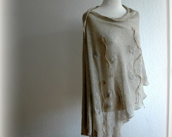 Natural LINEN Grey Delicate  Knitted Poncho Wrap With Linen Appliqes Eco Friendly Clothing Plus Size