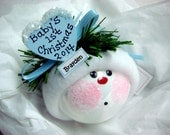 Baby's 1st Christmas Ornament Heart Blue Hat Townsend Custom Gifts Personalized Name Tag Sample Handmade Hat