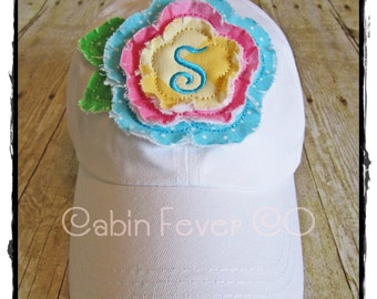 Baseball Cap, Ladies Hat, Monogram Baseball Cap in White with Colorful Frayed Flower and Initial, One Size Fits Most