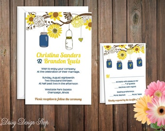 Wedding Invitation - Mason Jars and Sunflowers Hanging from Tree Branch - Invitation and RSVP Card with Envelopes