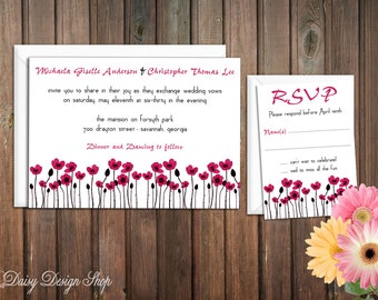Wedding Invitation - Colorful Poppies Spring Flowers - Invitation and RSVP Card with Envelopes
