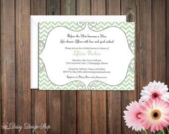 Bridal Shower Invitation - Chevron and Fancy Frame