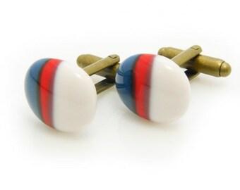 Handmade Glass cufflinks tricolor 032