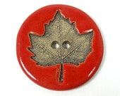 Handmade Ceramic Button with Leaf