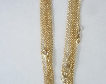 30  inches Gold  vermeil rolo link necklace chain with lobster clasp, finished chain, gold plated .925 sterling silver.
