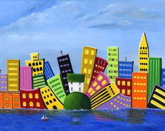 Hilly Huey Heights Giclée Archival Print - Paper or Canvas - Cityscape Waterfront Folk Art - white house, big city background -Various Sizes