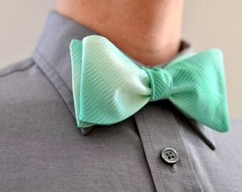 Men's Bow Tie in Mint Ombre -  wedding groomsmen ties custom self tie freestyle adjustable mint green