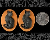 Black Cat Cameos - Two Black and Orange 30x40mm Resin Cameos  CAM115