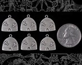 Silver Plated Brass Beehive Charm  Set of Six *S-C127