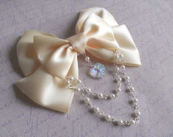 Sweet Lolita Hair clip or Brooch off white or cream bow with glass heart and white pearl beads