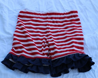 red and white stripe with navy blue ruffles ruffle shorts shorties bloomers sizes 12m - 14 girls