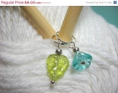 CLOSING SALE Stitch Markers Flowers Aqua Teal Set of 5