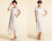 Water Lily/ Elegant Two Layered Silk  Dress with Asymmetrical Hems / 21 Colors/ RAMIES
