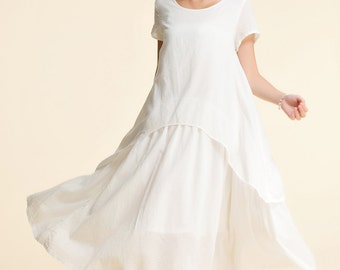 Jasmine/ Twirl This Skirt!!/Free Style Linen Summer Dress/ Two Layed Dress / 20 Colors/ RAMIES