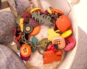 RESERVED  For Marie Wendel   Colors Of Autumn Multi Color and Antique Brass Button Bangle Bracelet