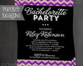 Printable Glitter Bachelorette Party Invite - Bling Black, Gold & Purple - Digital File ONLY