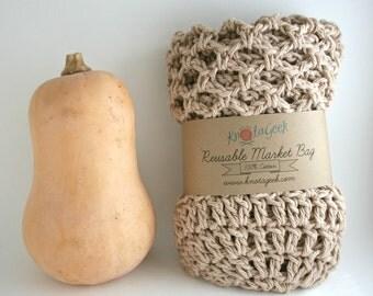 Farmers Market Bag - Reusable Cotton Grocery Tote - Jute