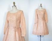 SALE! 1950s Lace Party Dress / 50s Pink Lace Dress