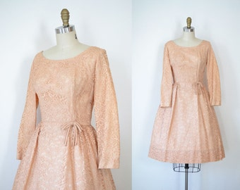SALE! 1950s Lace Party Dress / 50s Pink Lace Dress