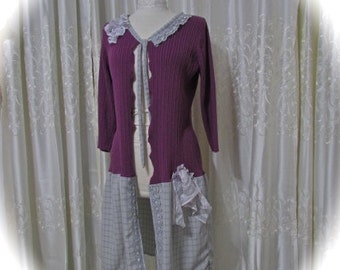 Purple Plum Sweater, women's upcycled clothing, long bohemian sweater coat, altered couture refashioned LARGE