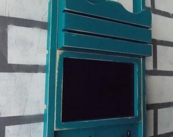 Mail Organizer/Chalkboard Message Center/Coat Hook Rack/Message Board