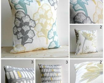 Pillow Cover, Cushion Cover, Accent Pillow, Decorative Pillow, Pillow Sham, 18x18, 18 Inch, Throw Pillows - Yellow Grey Collection