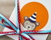 Peekaboo Party Animal Celebration Card: bear in navy & white striped party hat on orange - kids birthday welcome baby bamboo card