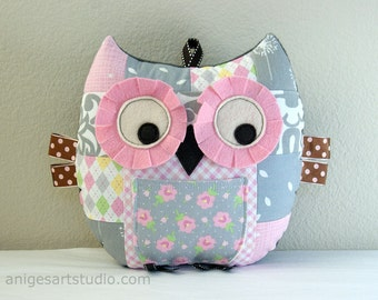 Owl Pillow, Patchwork Owl, Tooth Fairy Pillow, Owl Plush Toy, Stuffed Animal, Great Baby Girl Gift, Pink and Gray