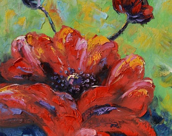 ORIGINAL Oil Painting Flower Burst 24x24 Palette Knife Colorful Red large Green modern decor canvas contemporary blue wall ART by Marchella