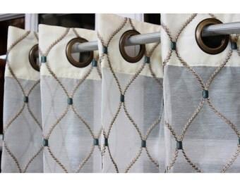 "Geometric Diamonds Stitch Embroidery Sheer Curtain Panels 52""x84"" Grommet Drapes Home Living Decor Housewares Valance Window Treatments"