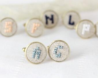 Personalized cufflinks, Initials cufflinks for groomsmen, Custom wedding cuff links - customizable color i005